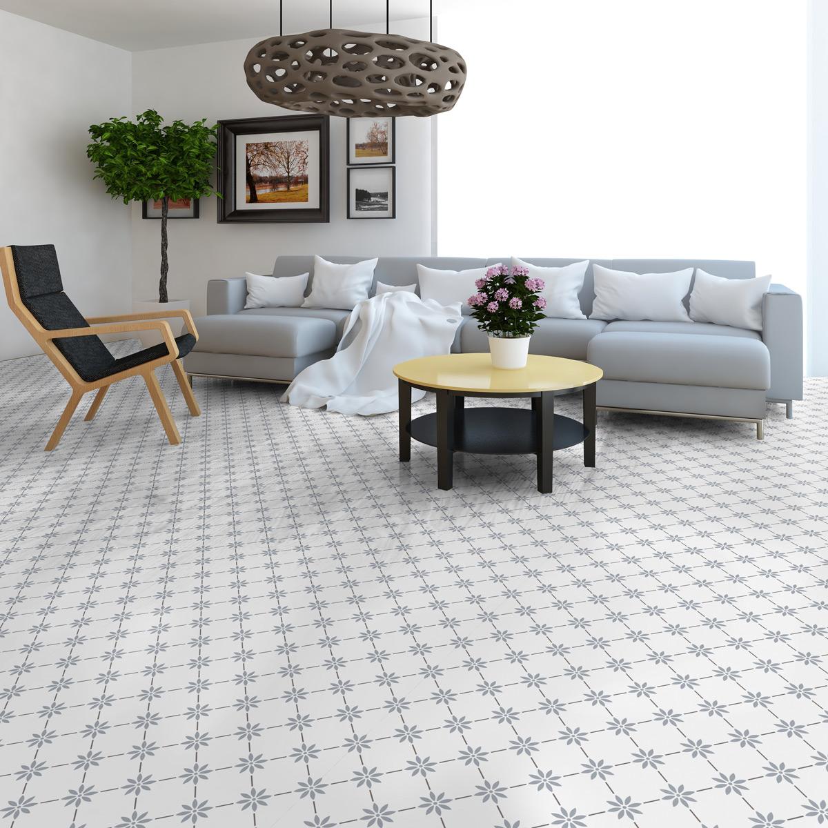 stickers carreaux de ciment sol bianca anti d rapant cuisine carrelages ambiance sticker. Black Bedroom Furniture Sets. Home Design Ideas