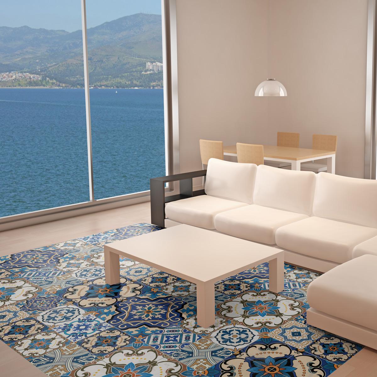 stickers carreaux de ciment sol rom o anti d rapant. Black Bedroom Furniture Sets. Home Design Ideas
