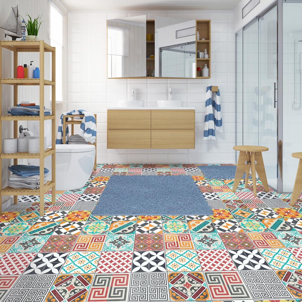 stickers carreaux de ciment sol timeo anti d rapant 100. Black Bedroom Furniture Sets. Home Design Ideas