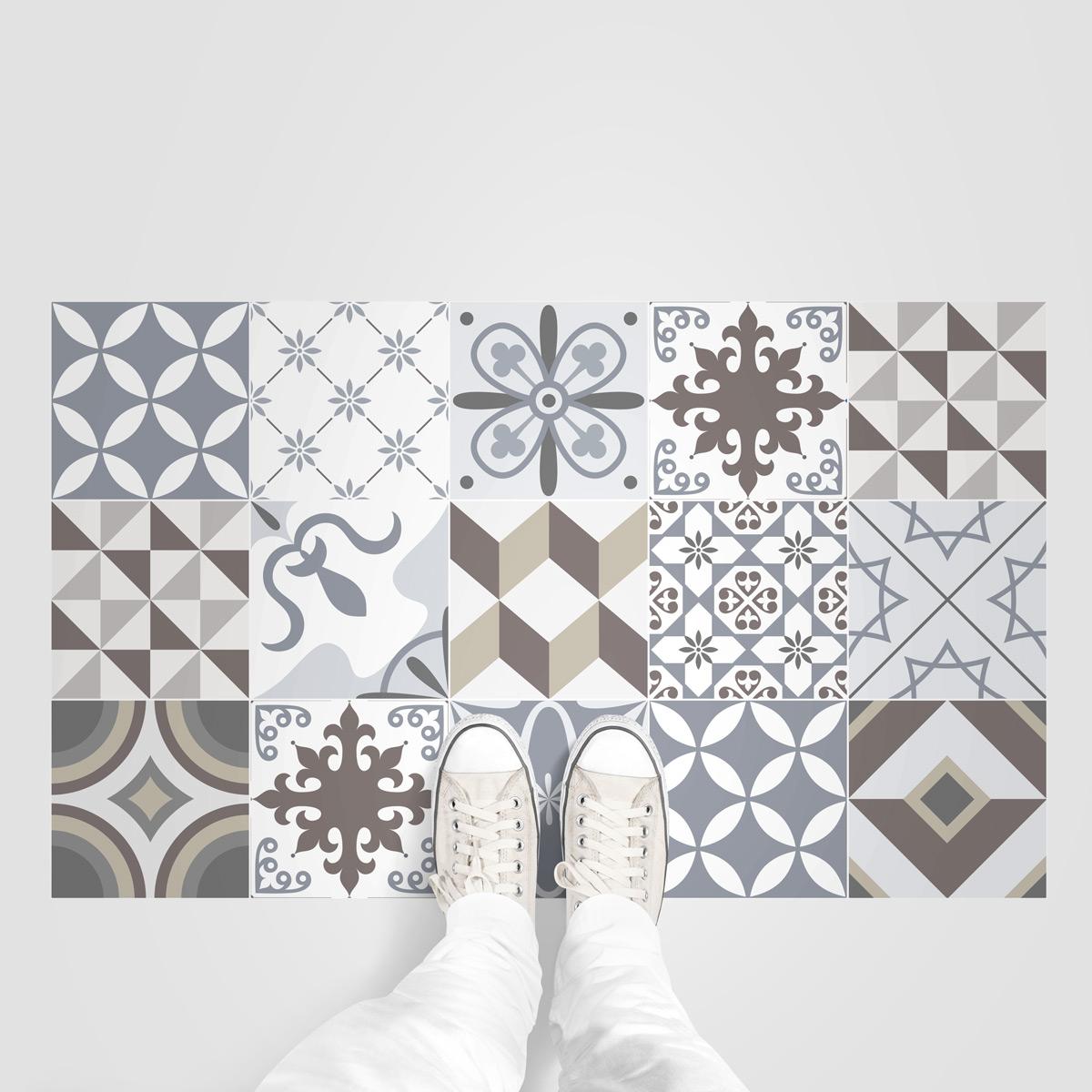 stickers carreaux de ciment sol tolomeo anti d rapant. Black Bedroom Furniture Sets. Home Design Ideas