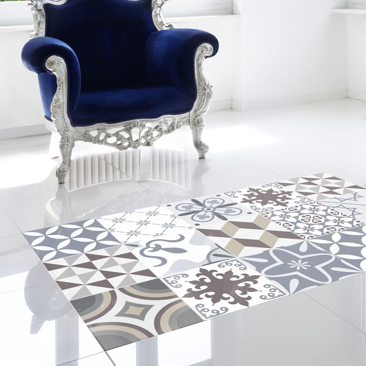 stickers carreaux de ciment sol tolomeo anti d rapant 60x100cm salle de bain et wc salle de. Black Bedroom Furniture Sets. Home Design Ideas
