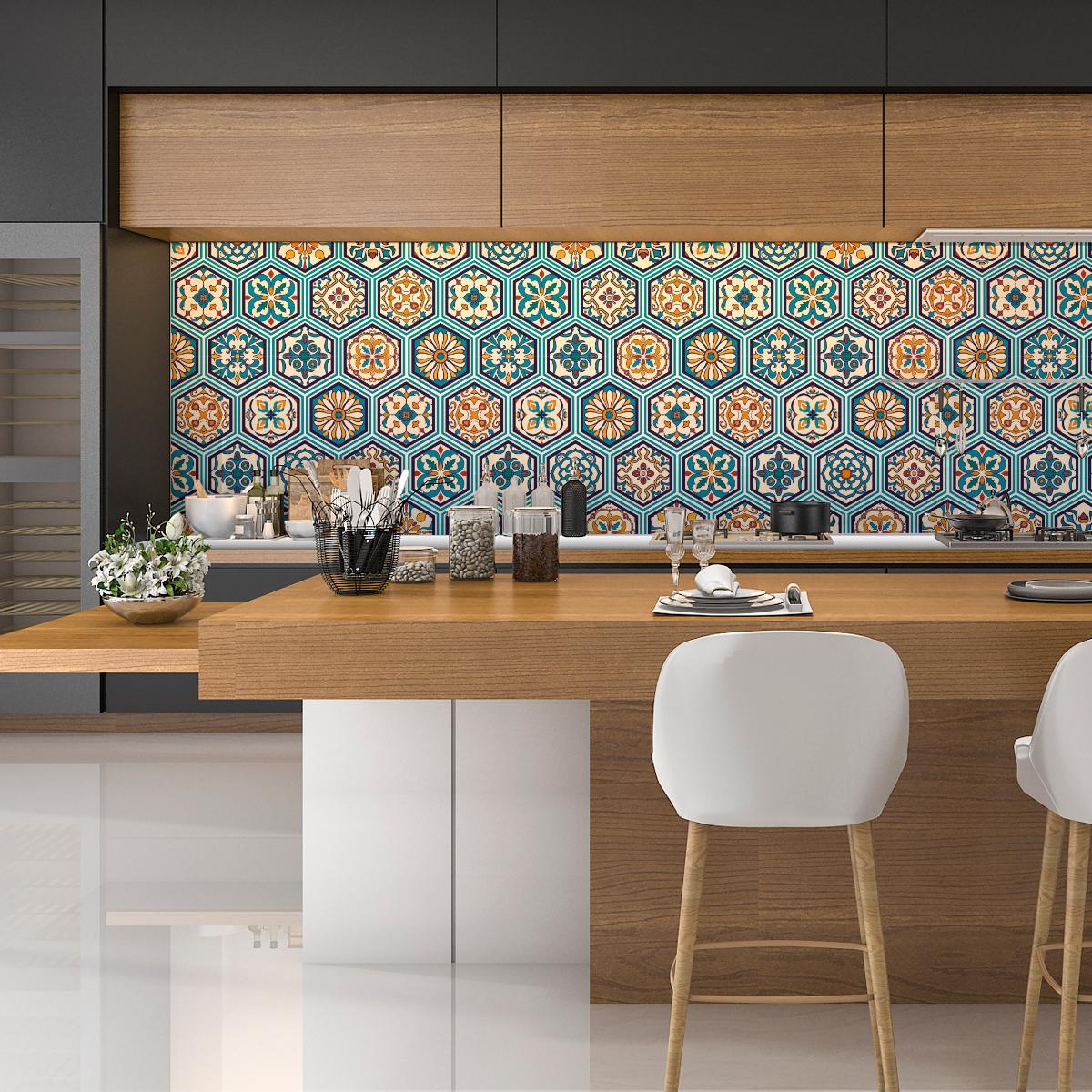 stickers carrelages hexagones bois patin bleu vert. Black Bedroom Furniture Sets. Home Design Ideas