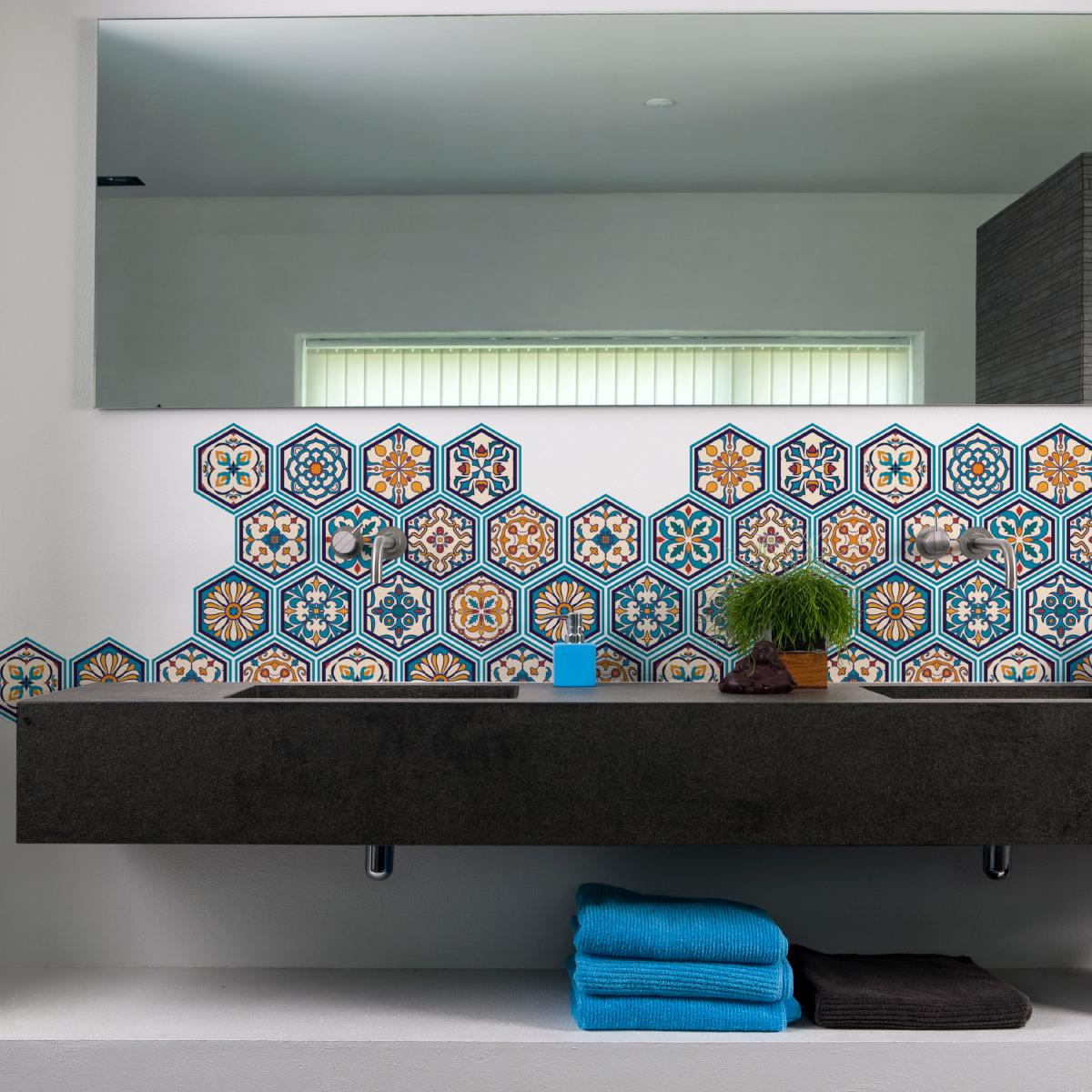 Stickers carrelages hexagones bois patin bleu vert for Carrelage salle de bain bleu vert