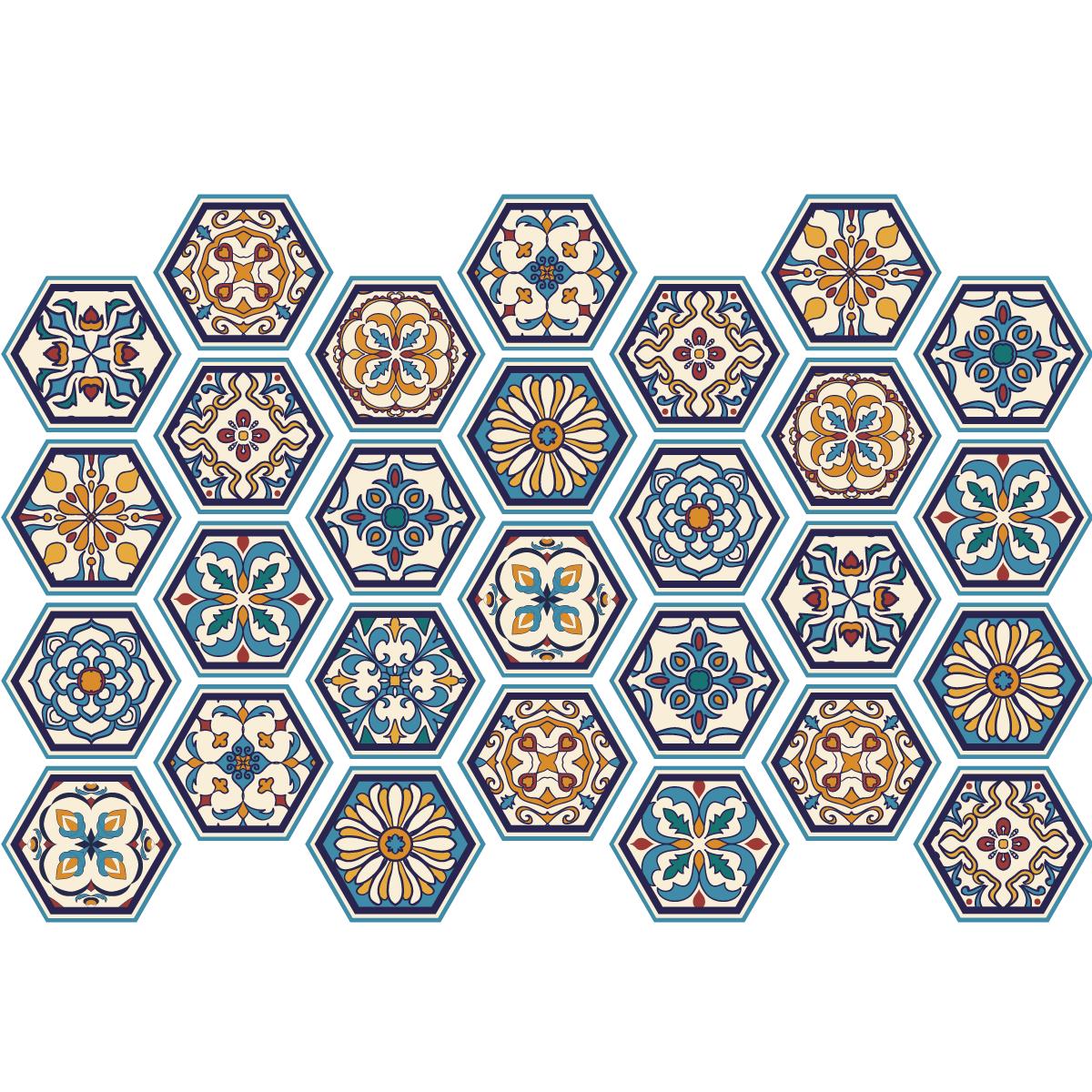 Stickers carrelages hexagones bois patin bleu vert salle de bain et wc salle de bain - Carreau transparent salle de bain ...