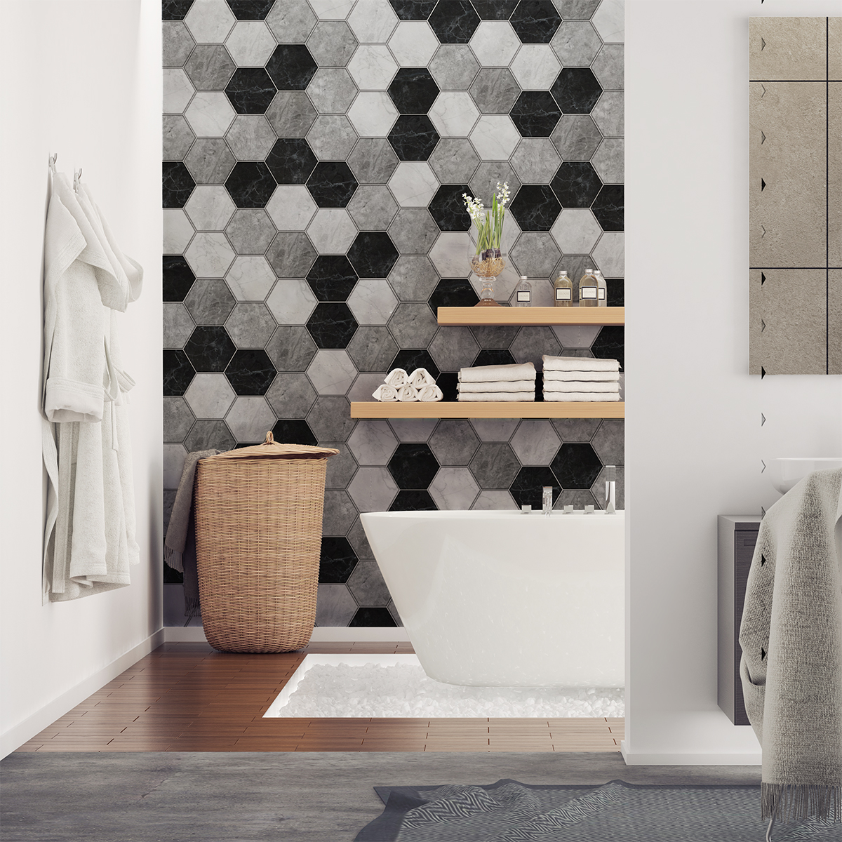 Stickers Carrelages Hexagones Marbre Dantan SALLE DE BAIN ET WC - Carrelage d'antan