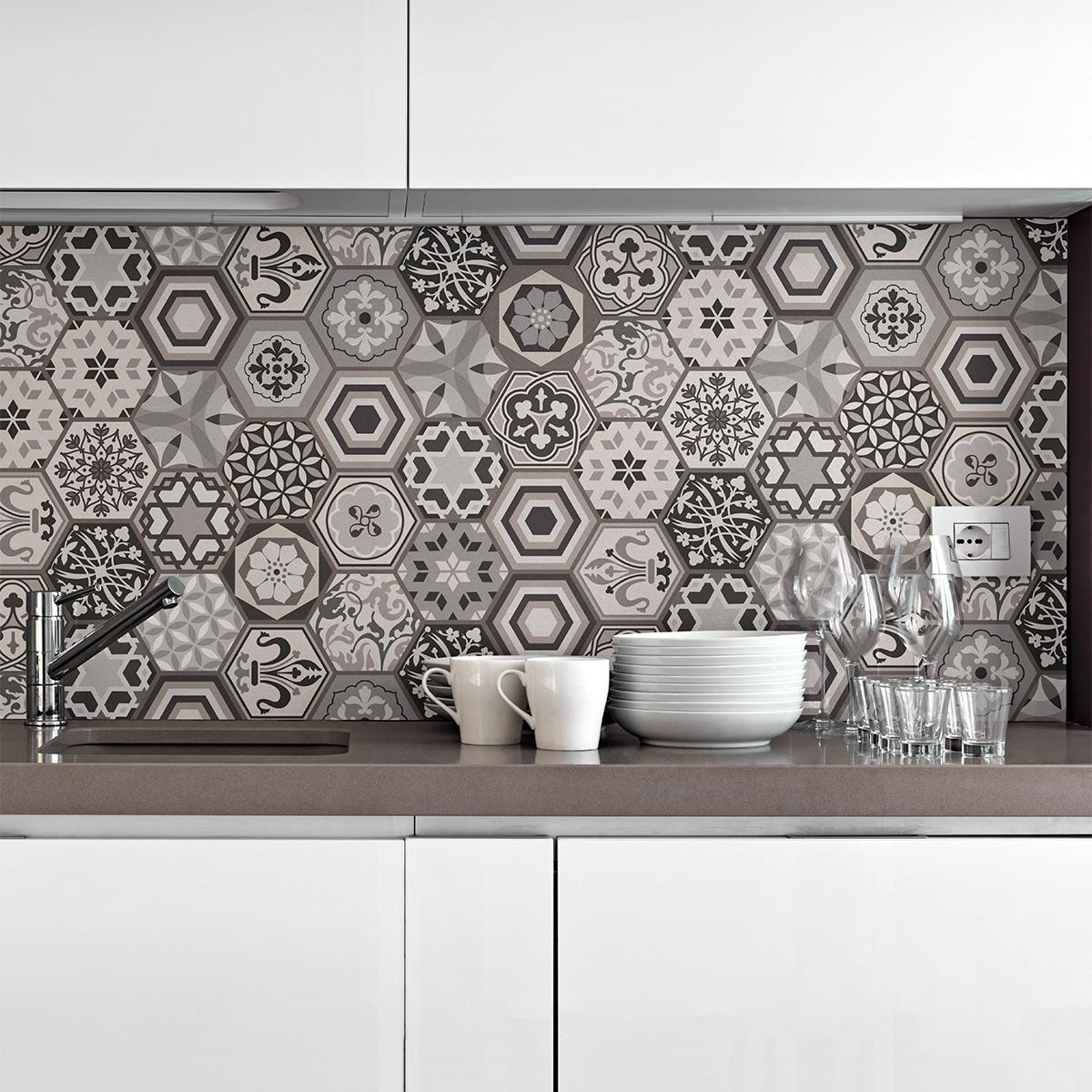 stickers carrelages hexagones nuances de gris mosa que. Black Bedroom Furniture Sets. Home Design Ideas
