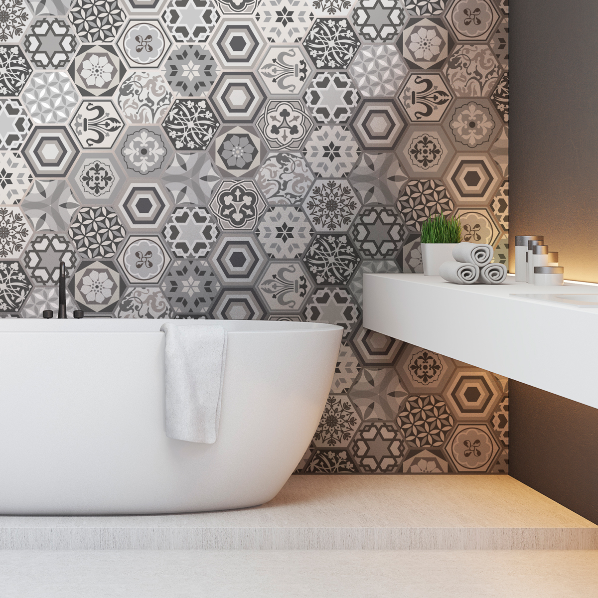 stickers carrelages hexagones nuances de gris mosa que salle de bain et wc salle de bain. Black Bedroom Furniture Sets. Home Design Ideas