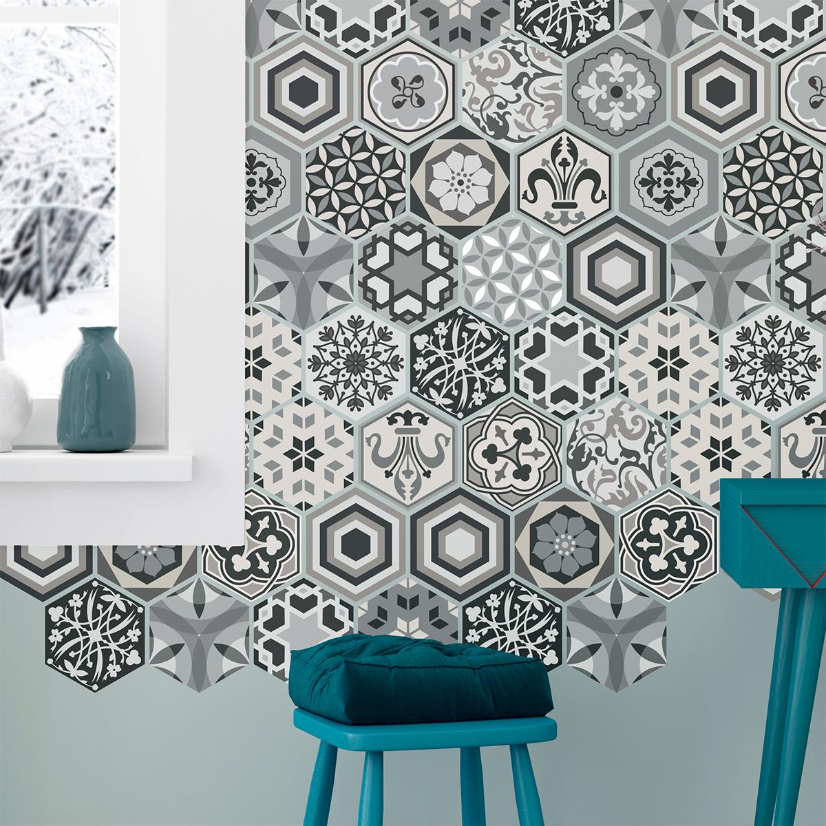 stickers carrelages hexagones nuances de gris mosa que salle de bain et wc salle de bain. Black Bedroom Furniture Sets. Home Design Ideas
