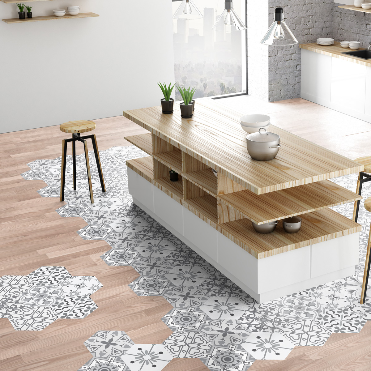 Stickers carrelages hexagones sol fabiano anti d rapant cuisine carrelages ambiance sticker - Stickers cuisine carrelage ...
