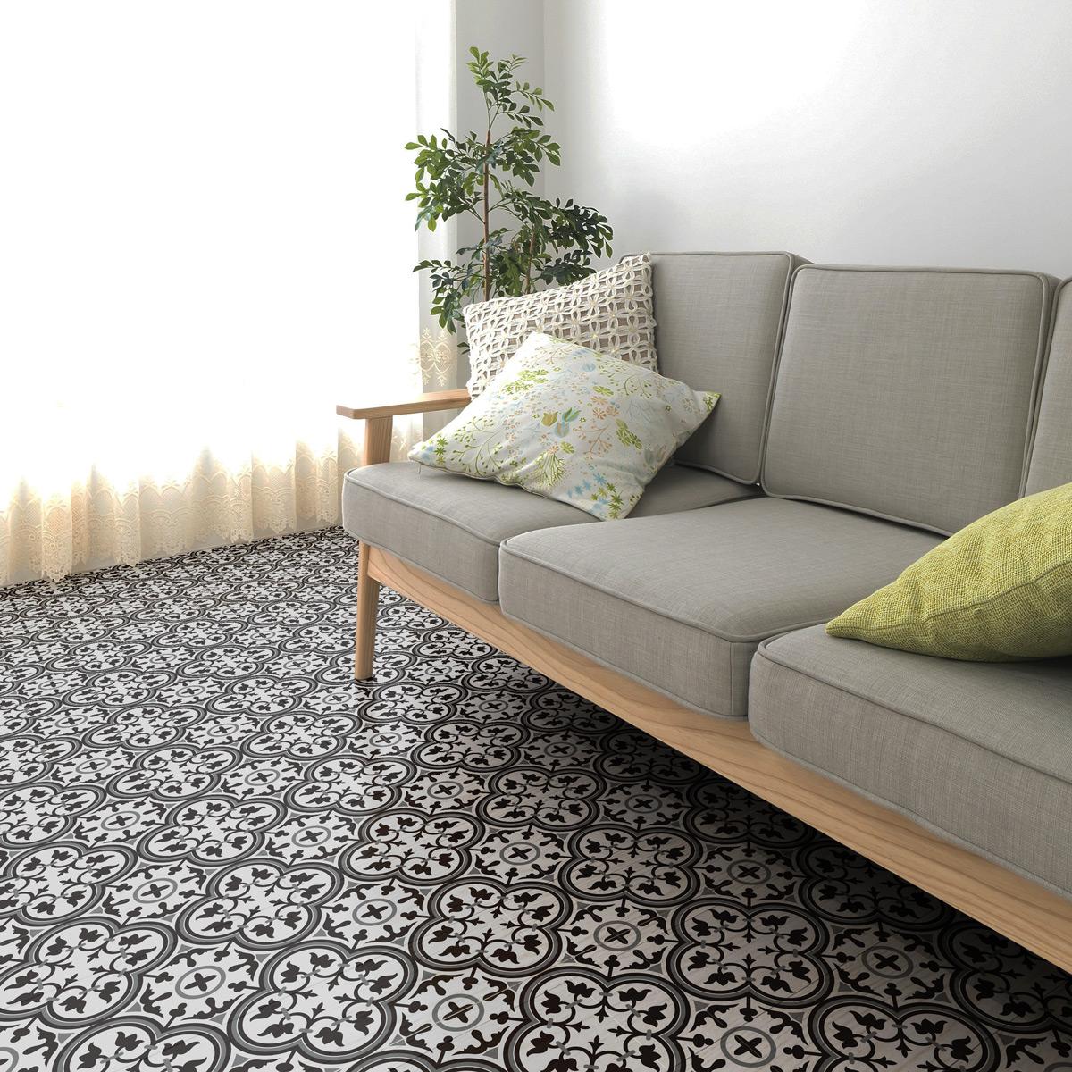 stickers carrelages sol horacio anti d rapant 60x100 cm. Black Bedroom Furniture Sets. Home Design Ideas