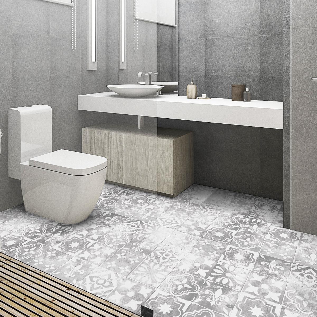 stickers carrelages sol moreno anti d rapant 60 x 90 cm salle de bain et wc salle de bain. Black Bedroom Furniture Sets. Home Design Ideas