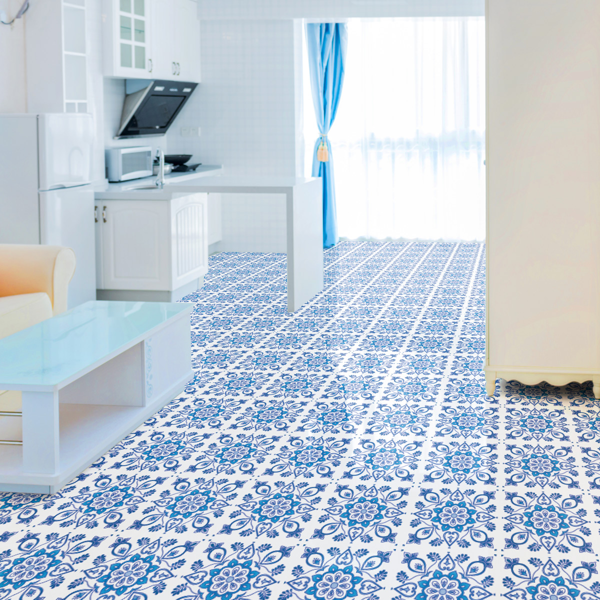 stickers carrelages sol pietro anti d rapant 100 x 60 cm. Black Bedroom Furniture Sets. Home Design Ideas