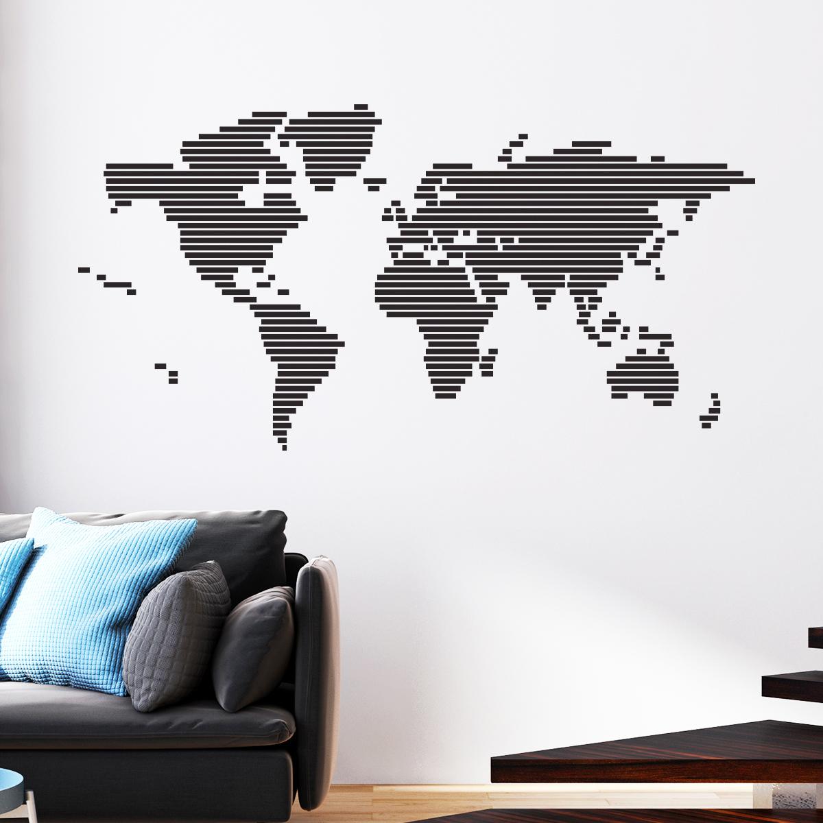 carte du monde stickers muraux pays et villes