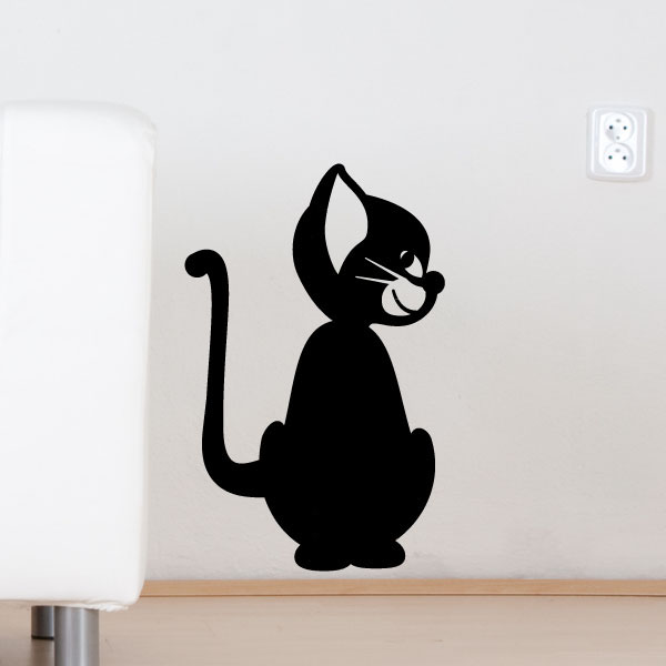stickers muraux animaux sticker mural chat filou 2 ambiance. Black Bedroom Furniture Sets. Home Design Ideas