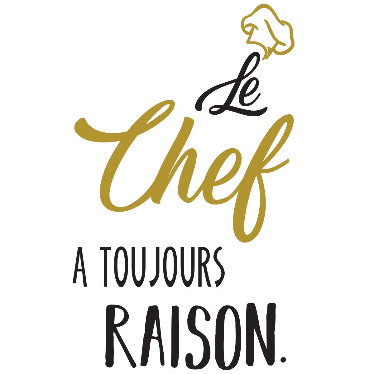 stickers citation le chef a toujours raison stickers citations cuisine ambiance sticker. Black Bedroom Furniture Sets. Home Design Ideas