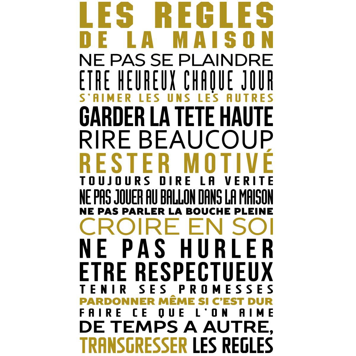 stickers citation les r gles de la maison en couleur stickers citations fran ais ambiance. Black Bedroom Furniture Sets. Home Design Ideas