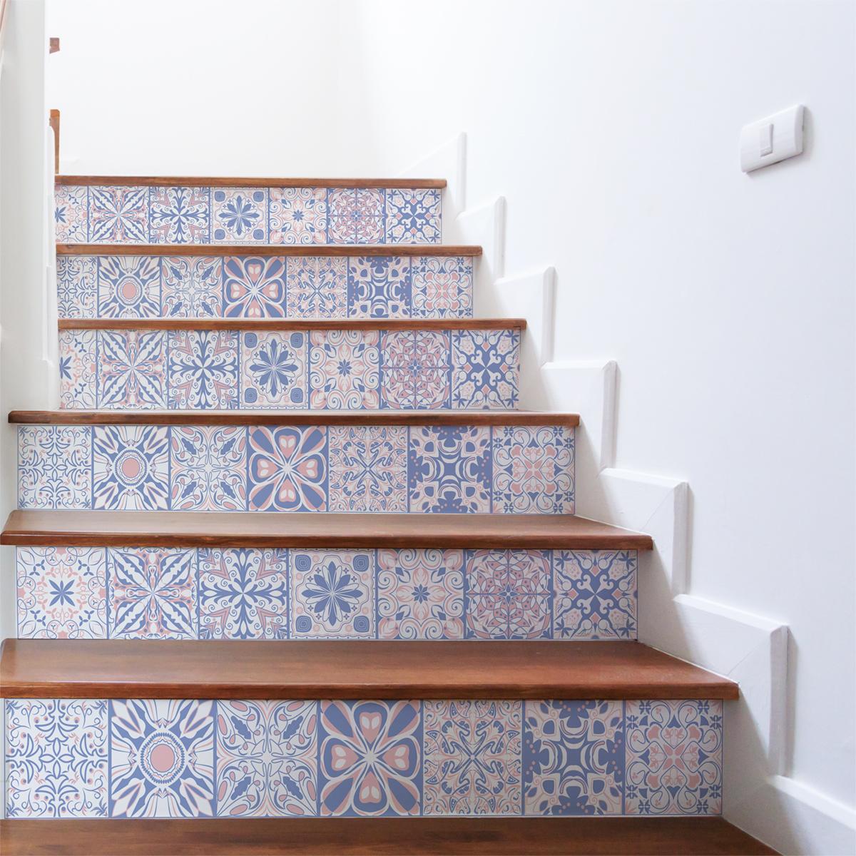 stickers contremarche bleu d 39 orient x 2 stickers carrelage stickers carrelage escalier. Black Bedroom Furniture Sets. Home Design Ideas