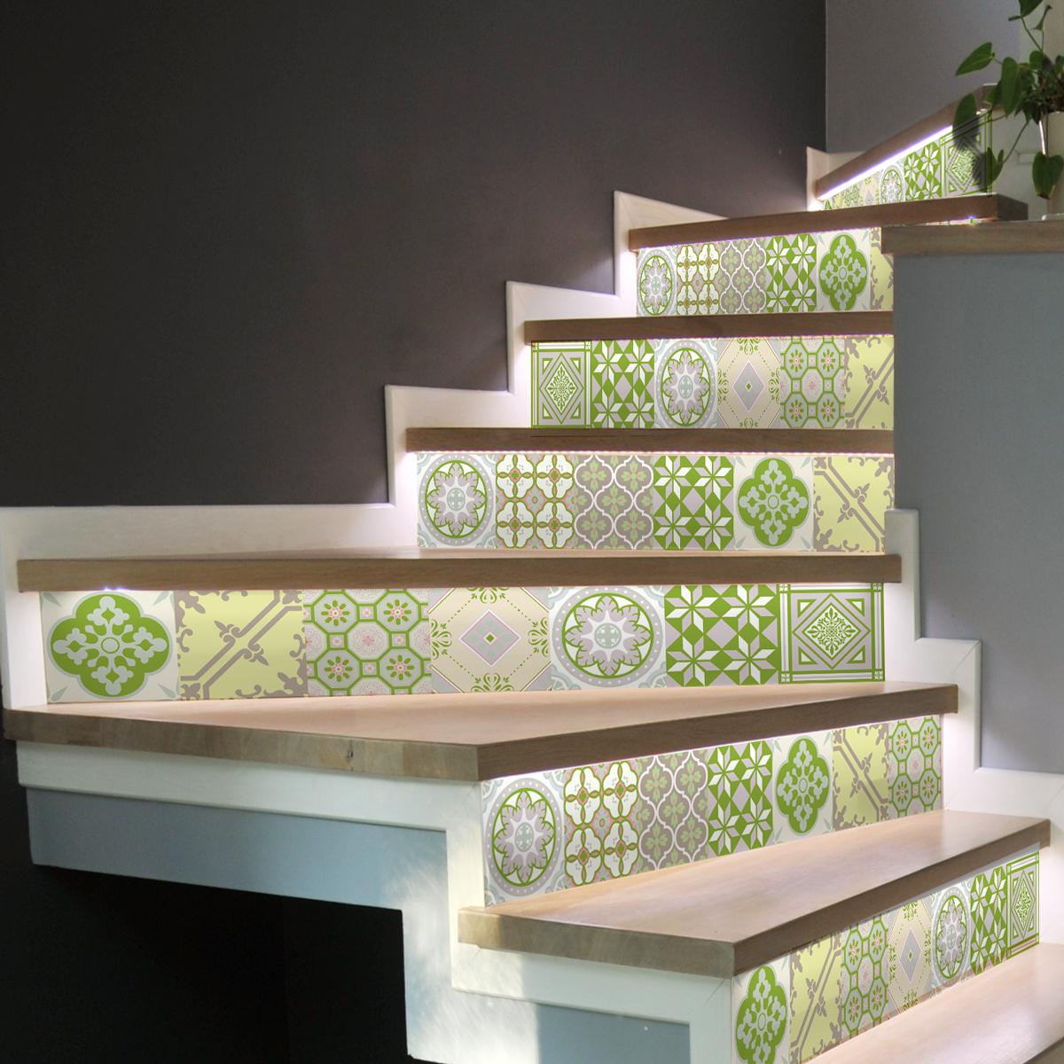 stickers contremarche carrelages nuance de vert x 2 stickers carrelage stickers carrelage. Black Bedroom Furniture Sets. Home Design Ideas
