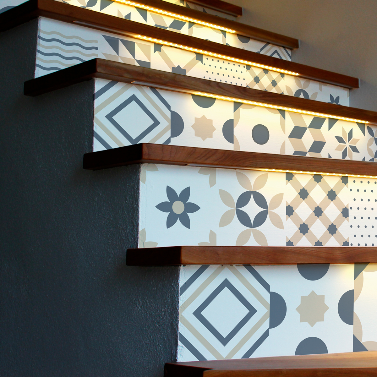 Stickers contremarche carrelages ornements design x 2 - Stickers marche escalier ...