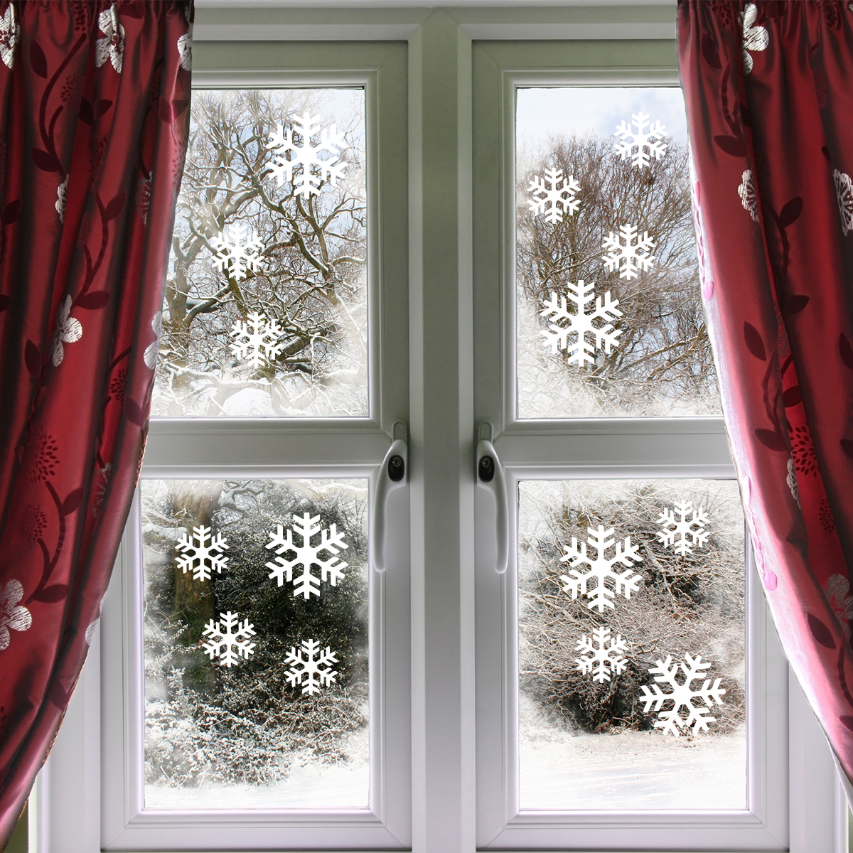 Stickers noel flocons de neige lectrostatiques - Stickers noel pour vitres ...
