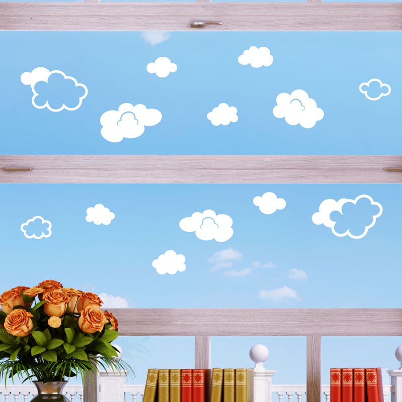 Stickers lectrostatiques sticker nuages ambiance - Stickers muraux nuages blancs ...