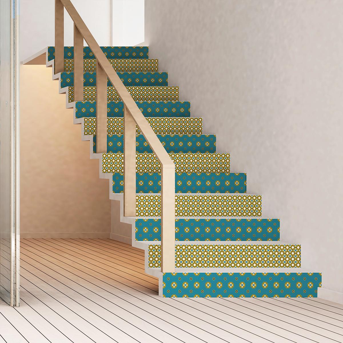 Stickers escalier carreaux de ciment oglavee x 2 ambiance - Escalier carreaux de ciment ...