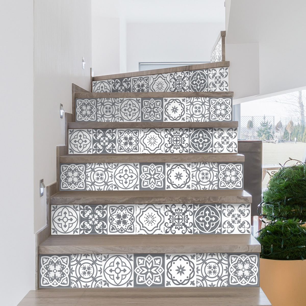 stickers escalier carreaux de ciment berto x 2 ambiance sticker col stairs rv a0102 stickers. Black Bedroom Furniture Sets. Home Design Ideas