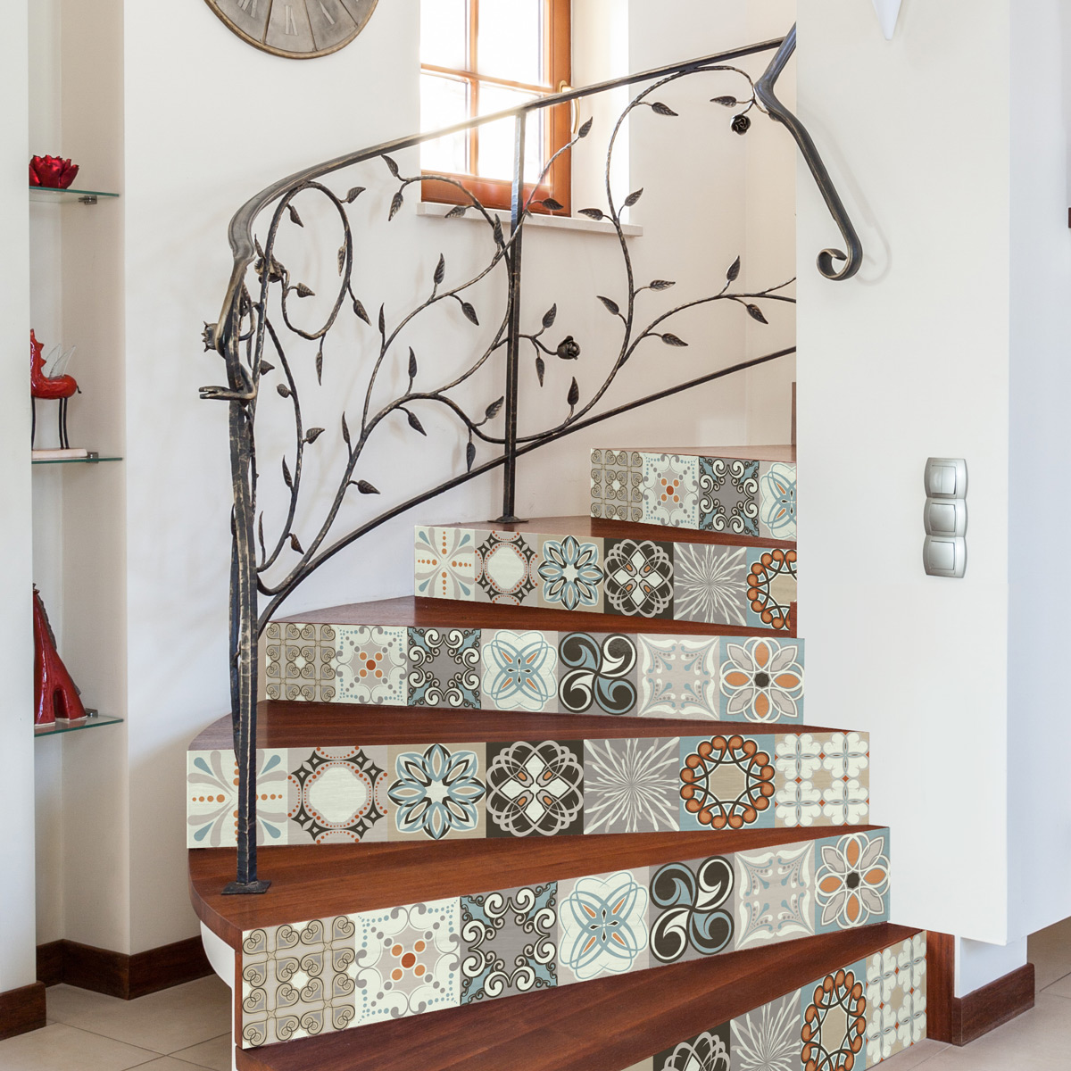 stickers escalier carreaux de ciment esteban x 2 ambiance sticker col stairs rv a0100 stickers. Black Bedroom Furniture Sets. Home Design Ideas