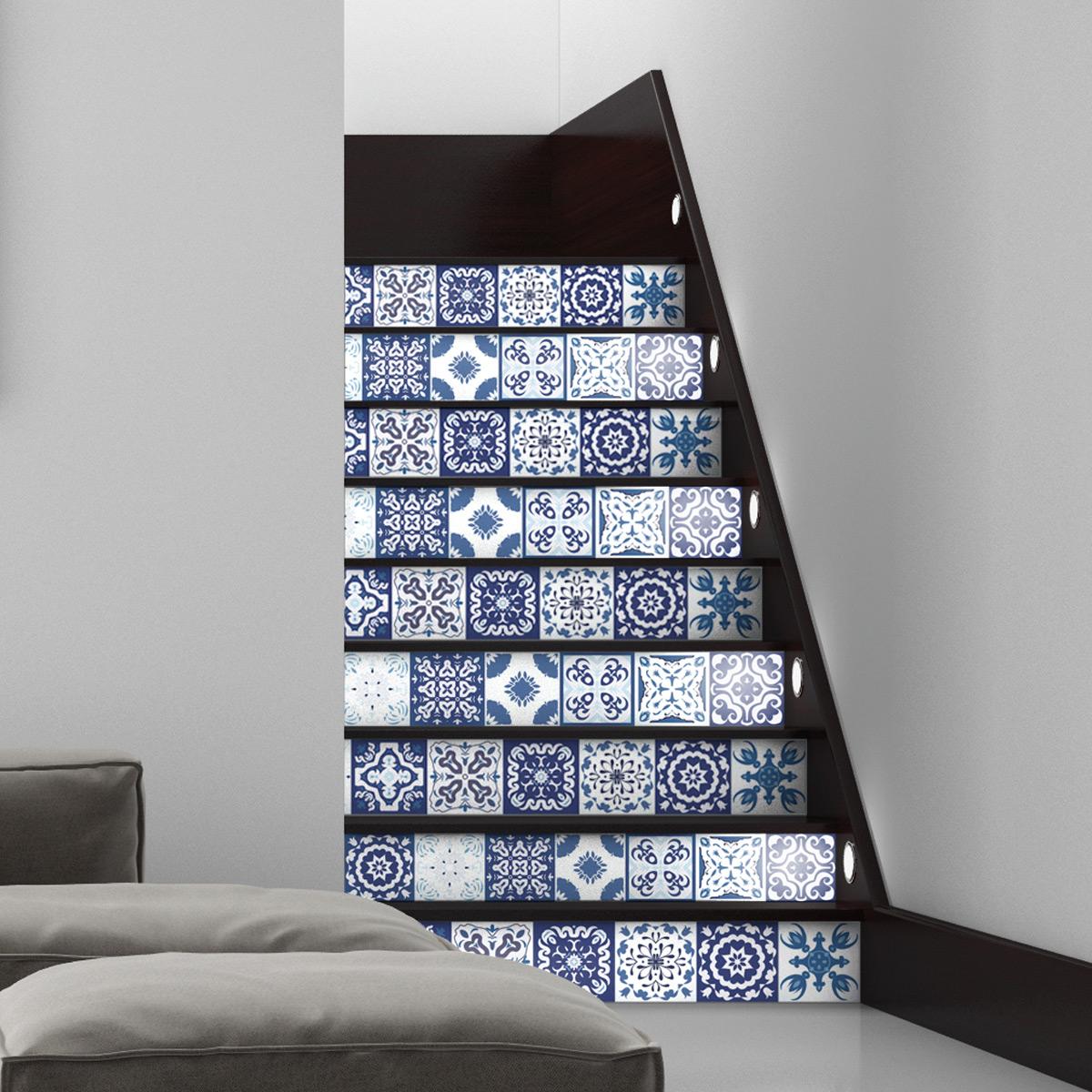 Stickers escalier carreaux de ciment fedora x 2 ambiance - Escalier carreaux de ciment ...