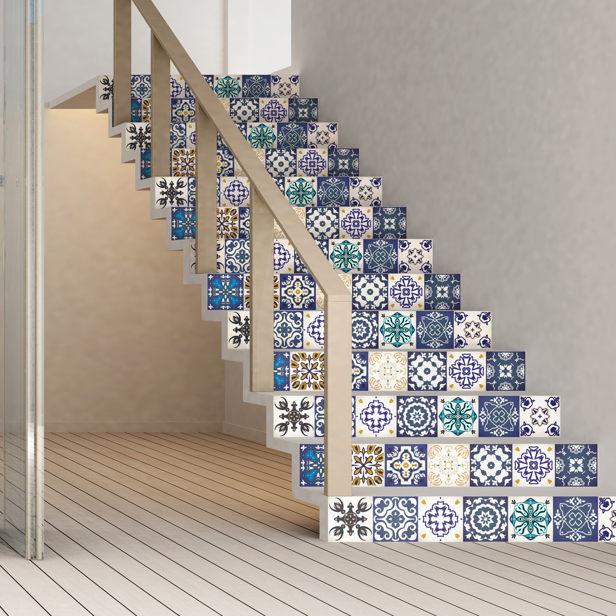 stickers escalier carreaux de ciment gelino x 2 ambiance sticker col stairs rv a0108 stickers. Black Bedroom Furniture Sets. Home Design Ideas
