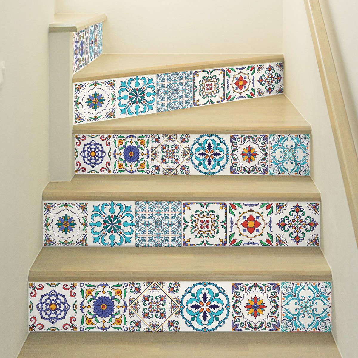 stickers escalier carreaux de ciment ivano x 2 ambiance. Black Bedroom Furniture Sets. Home Design Ideas