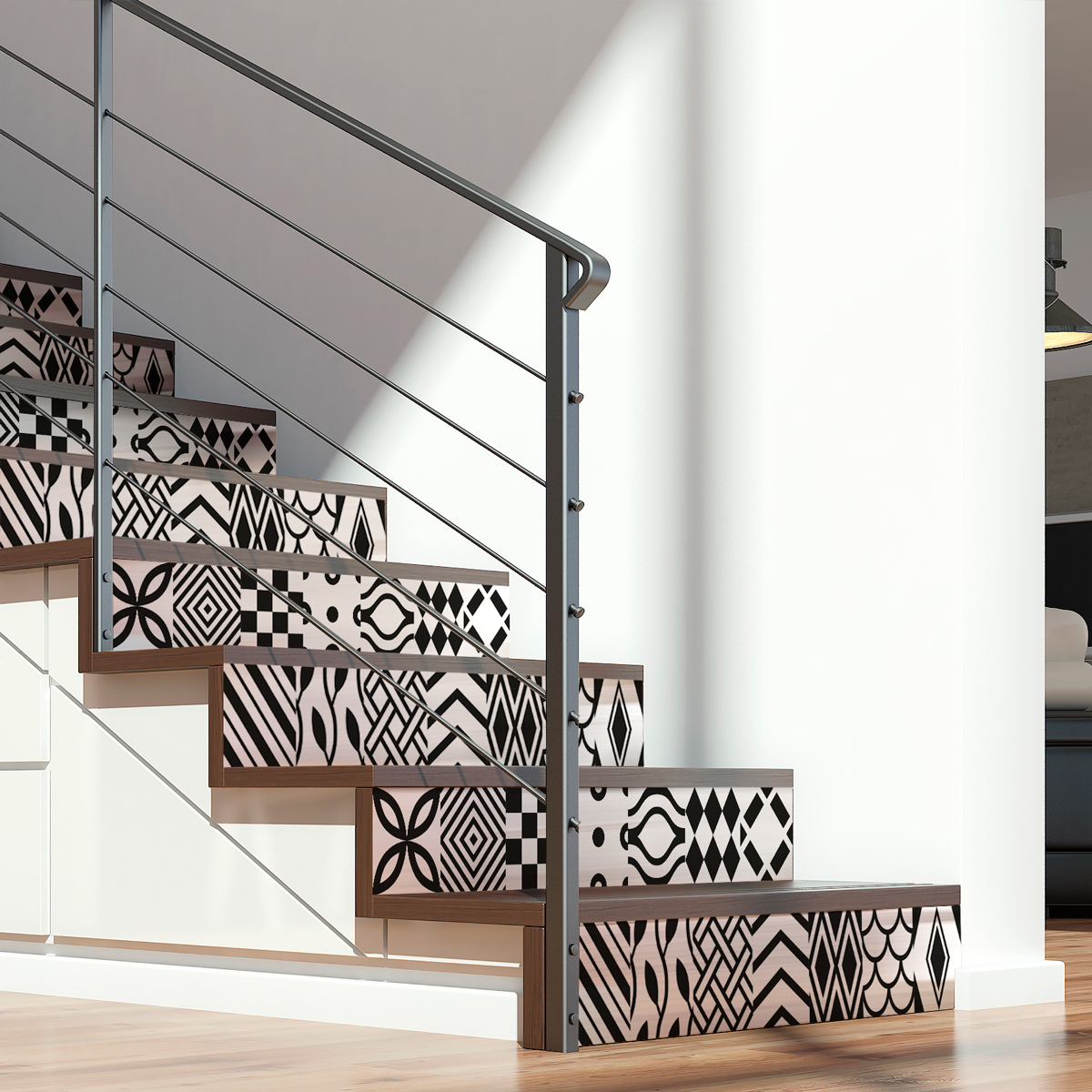 stickers escalier carreaux de ciment torborg x 2 ambiance sticker col stairs ros b055 stickers. Black Bedroom Furniture Sets. Home Design Ideas