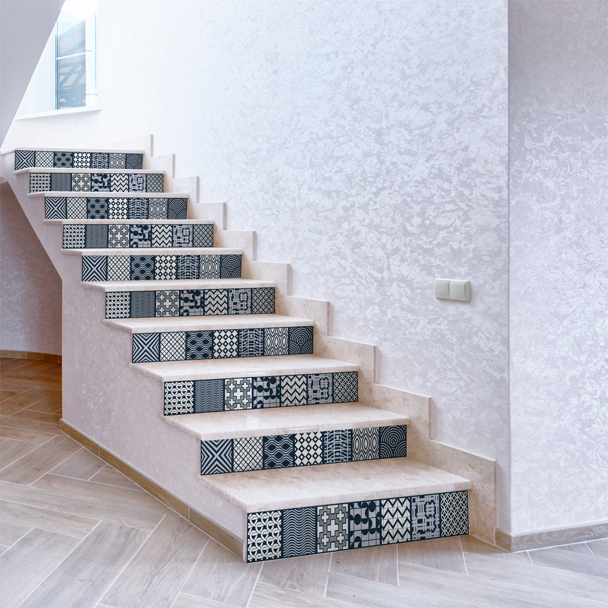 stickers escalier carreaux de ciment yorik x 2 ambiance sticker col stairs ros b060 stickers. Black Bedroom Furniture Sets. Home Design Ideas
