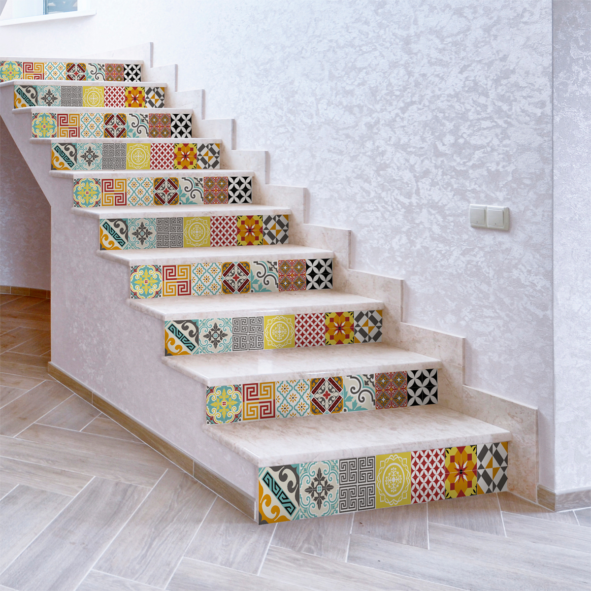 Stickers escalier carrelages mosa que multicolore x 2 for Carrelage mural multicolore