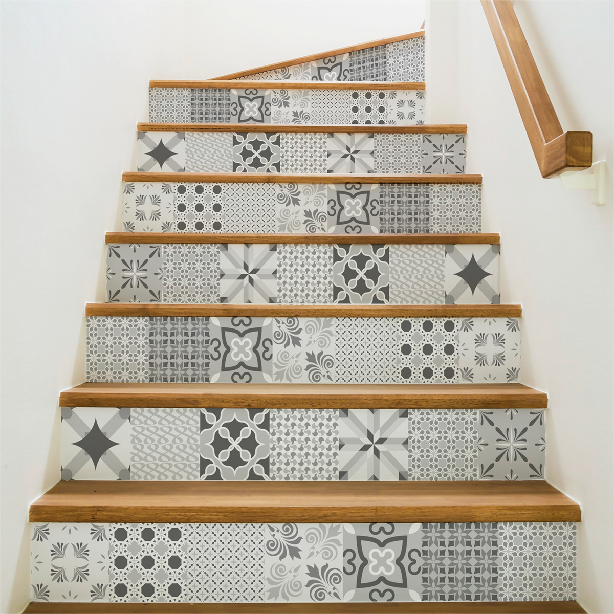 stickers escalier carrelages nuance de gris romantique x 2 ambiance sticker col stairs ros a924. Black Bedroom Furniture Sets. Home Design Ideas