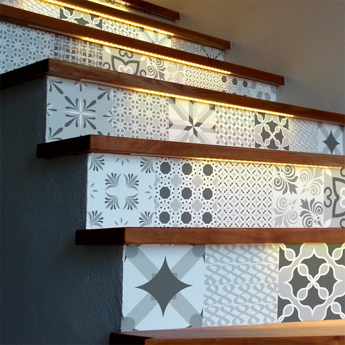 stickers escalier carrelages nuance de gris romantique x 2 ambiance sticker col stairs ros a924. Black Bedroom Furniture Sets. Home Design Ideas