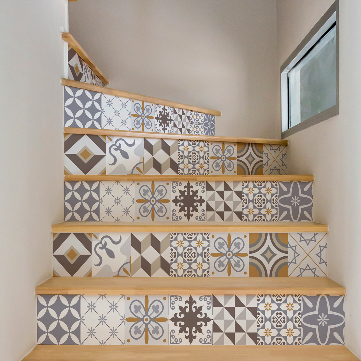 Stickers Escalier Carrelages Ornements Sobres X 2 Ambiance