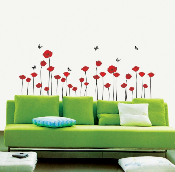 stickers muraux fleurs stickers fleurs coquelicots rouges ambiance. Black Bedroom Furniture Sets. Home Design Ideas