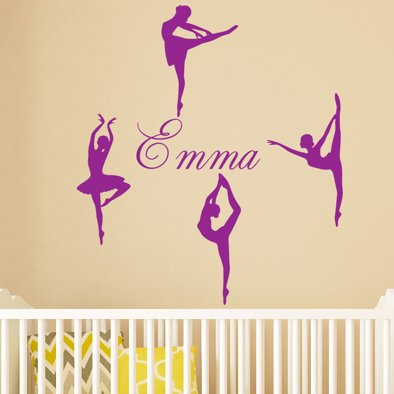stickers pr nom personnalis 4 ballerines stickers sports et football danse ambiance sticker. Black Bedroom Furniture Sets. Home Design Ideas