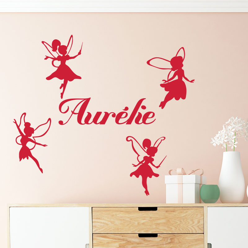 stickers pr nom personnalis 4 f es stickers filles f es ambiance sticker. Black Bedroom Furniture Sets. Home Design Ideas