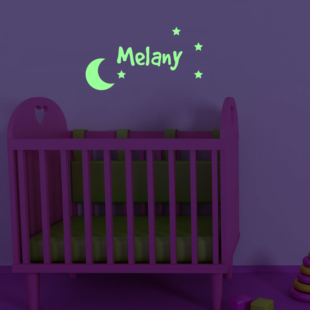 stickers muraux pr nom phosforescente sticker mural la lune et les toiles ambiance. Black Bedroom Furniture Sets. Home Design Ideas