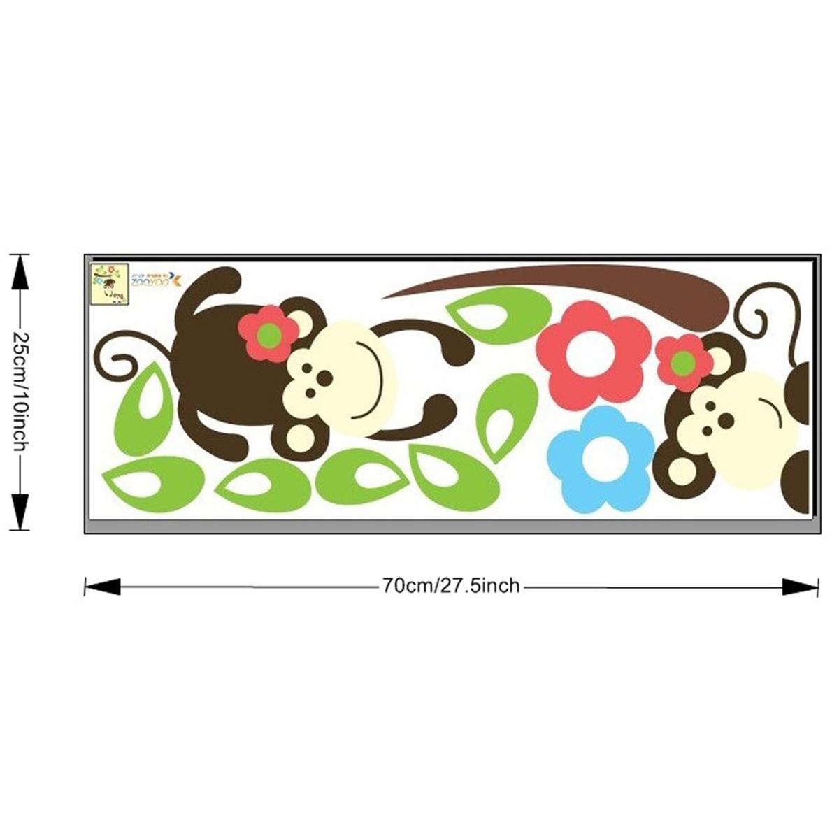 stickers muraux animaux sticker singes et fleurs ambiance. Black Bedroom Furniture Sets. Home Design Ideas