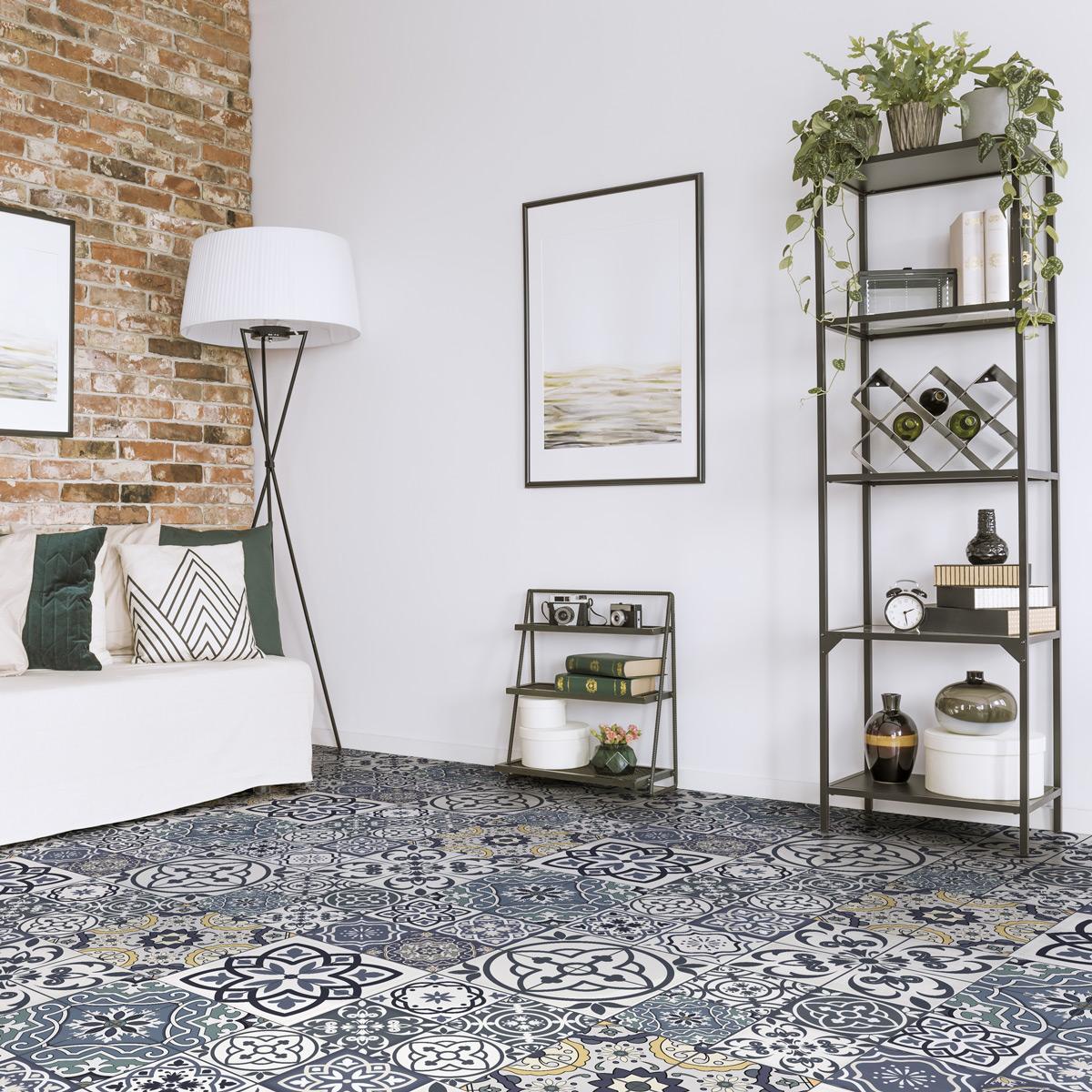 stickers sol carreaux de ciment anti d rapant romana salle de bain et wc salle de bain. Black Bedroom Furniture Sets. Home Design Ideas