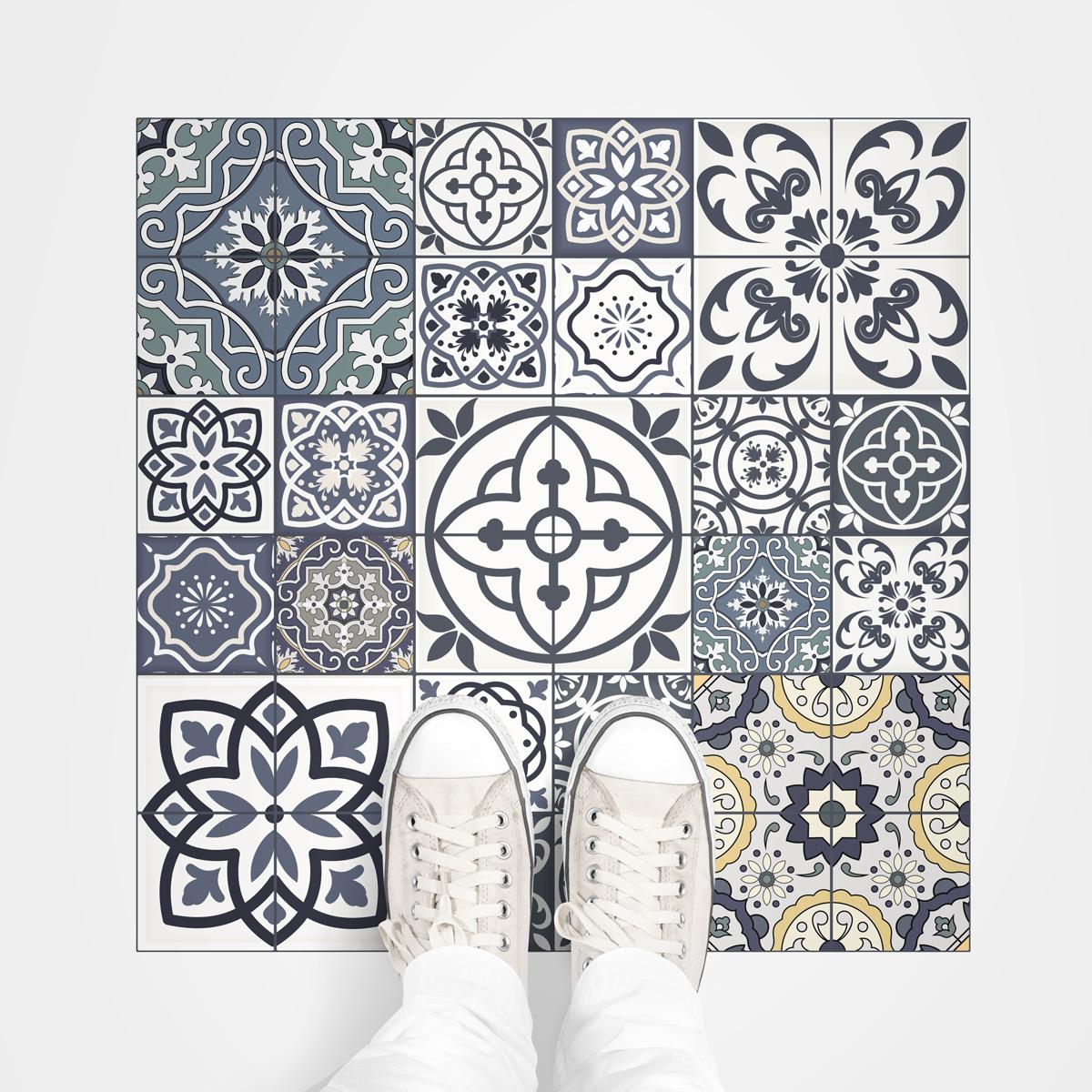 stickers sol carreaux de ciment anti d rapant romana. Black Bedroom Furniture Sets. Home Design Ideas