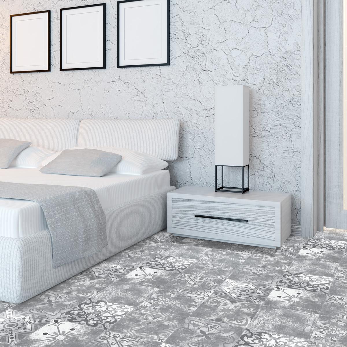 stickers sol carreaux de ciment aurora anti d rapant salle de bain et wc salle de bain. Black Bedroom Furniture Sets. Home Design Ideas