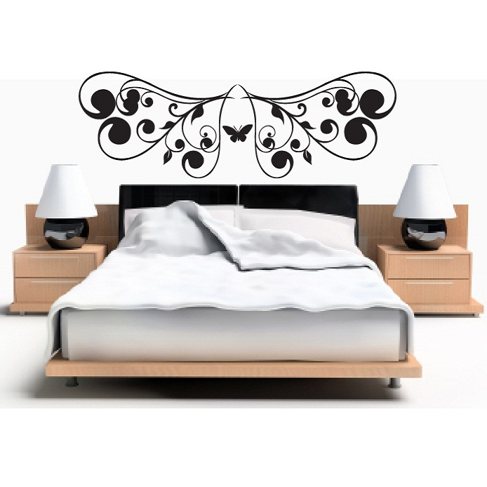 t te de lit et papillons stickers muraux chambre. Black Bedroom Furniture Sets. Home Design Ideas