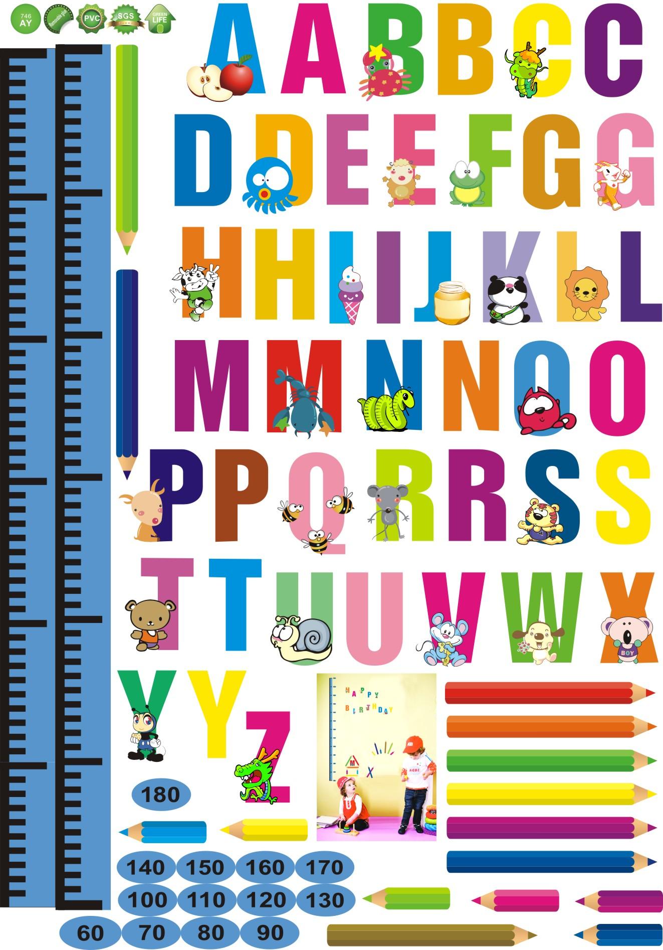 stickers muraux pour les enfants sticker toise alphabet et crayons ambiance. Black Bedroom Furniture Sets. Home Design Ideas