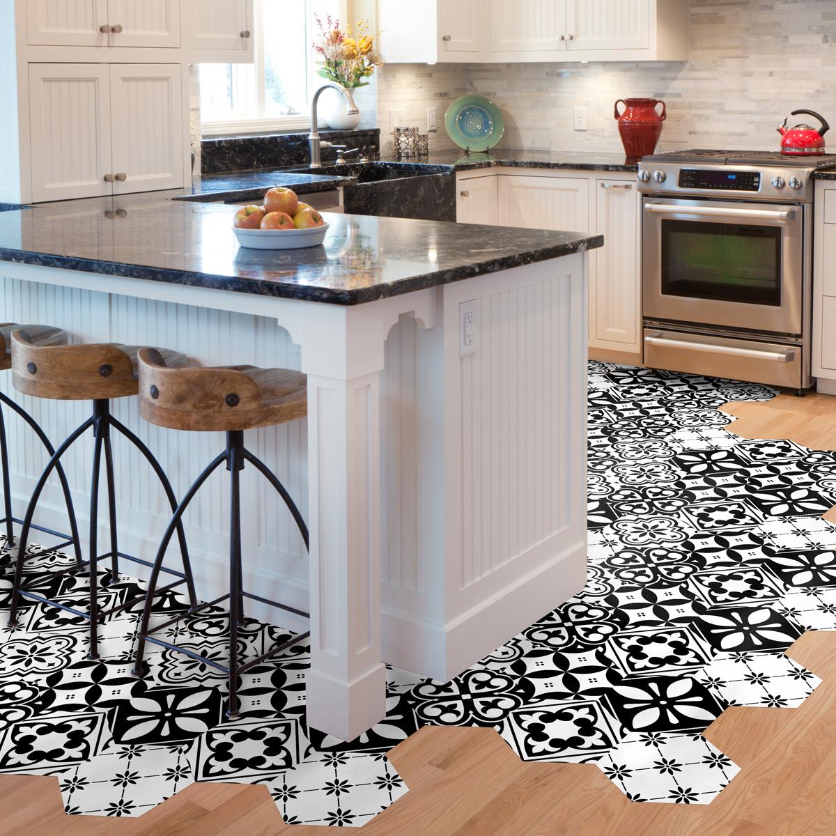 stickers tomettes sol manoela anti d rapant cuisine. Black Bedroom Furniture Sets. Home Design Ideas