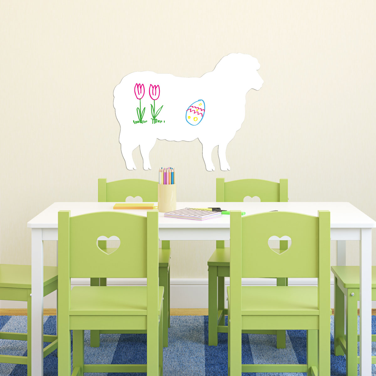 Stickers tableaux blancs sticker tableau blanc mouton for Stickers mouton chambre bebe