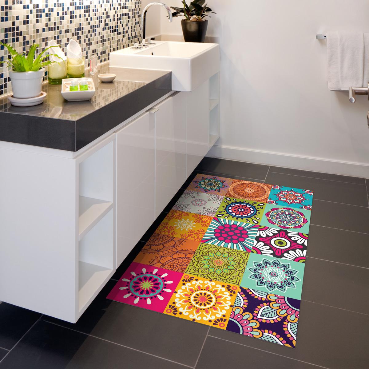 tapis vinyle carrelages azteka 60 x 100 cm stickers art et design artistiques ambiance sticker. Black Bedroom Furniture Sets. Home Design Ideas